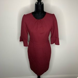 J. Crew Maroon 3/4 Sleeve Dress Size 4